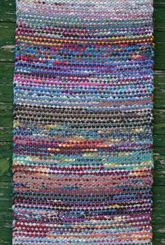"""Detail of rug by Christie Rogers. Christie teaches """"Rag Weaving—Extend the Possibilities"""" at the John C. Campbell Folk School 