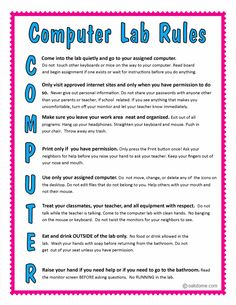 Computer Lab Rules -2 This site also has tons of lesson ideas for the k-5 computer lab.