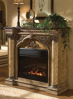 Caesar Mantel Ambella Arch Electric Fireplace The post Caesar Mantel appeared first on Schrank ideen. Old Fireplace, Fireplace Screens, Fireplace Inserts, Fireplace Design, Fireplace Mirror, Fireplace Drawing, Victorian Fireplace, Fireplace Remodel, Bathroom Fireplace
