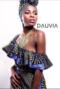 African print of-shoulder dress vlisco print