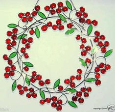 Stained Glass Red Berry Wreath window hanging - eBay