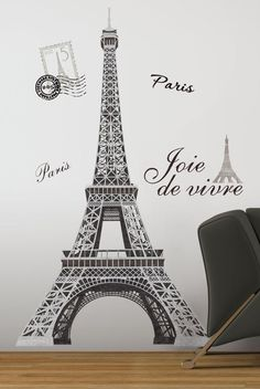 Enjoy the enchantment of Paris and the Eiffel Tower. without ever leaving your room! This set of giant wall decals will bring the famous tower right into your home. Paris Themed Bedroom Decor, Paris Room Decor, Paris Rooms, Paris Bedroom, Bedroom Themes, Bedroom Wall, Bedroom Ideas, Paris Bedding, Themed Rooms