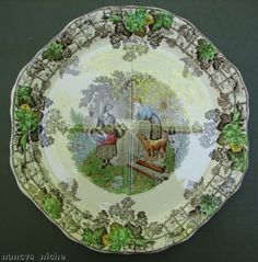 Spode Brown Transferware Cake Platter Farm