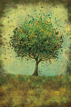 Trees...My Fav 24x36 Fine Art Print Welcome Change rustic green by papermoth, $125.00