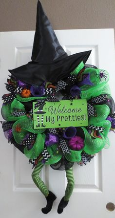 New Large Halloween WELCOME MY PRETTIES by TheOpenDoorWreaths