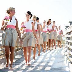 bridesmaids dresses  pink and tan- beach theme  #wedding #bridesmaid #pink   wedding ideas and inspiration