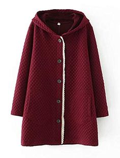 aa4916d424 Mordenmiss Women's Button Closure Hoodies Cotton Coat with Pockets (M  Burgundy) Best Winter Coats