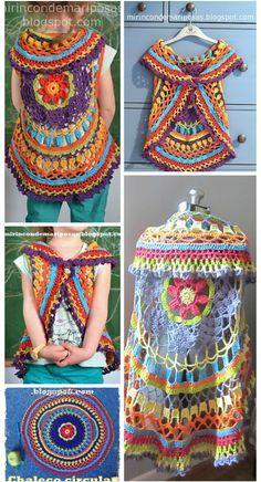 Crochet Vests Crochet Circle Shrug - 12 Free Crochet Patterns for Circular Vest Jacket Diy Crochet Granny Square, Crochet Circle Vest, Crochet Vest Pattern, Crochet Jacket, Jacket Pattern, Crochet Cardigan, Crochet Shawl, Free Crochet, Crochet Patterns