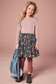 Розовый - Платье с цветочным принтом (3-16 лет)