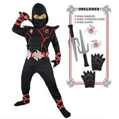 Spooktacular Creations Boys Ninja Deluxe Costume for Kids with Ninja Daggers Throwing Stars Tag anyone who should wear this! #Ninja #MartialArts #Halloween #Costume