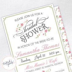 Vintage Floral Bridal Shower Invitation - Custom Bridal Shower Invite. $15.00, via Etsy.