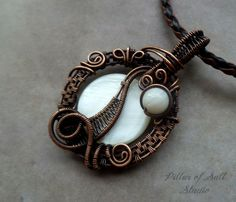 Wire Wrapped pendant, copper and mother of pearl, handmade wire wrapped by PillarOfSaltStudio