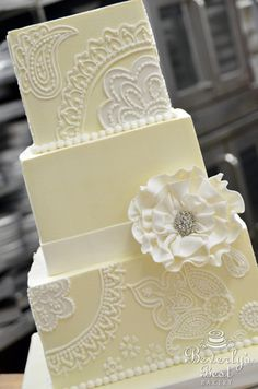 Paisley Print Wedding Cake with Ruffled Fondant Flower by Beverly's Best Bakery