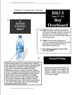 """Five printable and fully editable Reader's Response Journal sheets for the novel """"Boy Overboard"""" by Morris Gleitzman. Morris Gleitzman, Journals, No Response, Novels, Study, Writing, Boys, Baby Boys, Studio"""