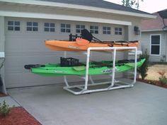 kayak rack pvc Sport Fishing, Kayak Fishing, Best Fishing, Fishing Tips, Kayak Storage Rack, Kayak Rack, Kayaking Gear, Kayak Camping, Canoeing