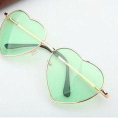 Heart-shaped green sunglasses