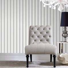 Gray Ticking Stripe Wallpaper - Gray Stripes Wall Coverings by Graham Brown Striped Wallpaper Design, Textured Wallpaper, Designer Wallpaper, Porte Diy, Home Wallpaper, Cream Wallpaper, Plain Wallpaper, Silver Wallpaper, Taylormade