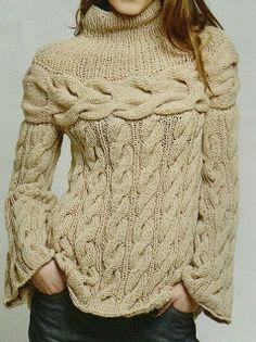 Patrones De Tejido Gratis - Chunky cream cabled sweater w/ round yoke Knitwear Fashion, Knitting Designs, Crochet Clothes, Free Knitting, Vogue Knitting, Pulls, Knitting Patterns, Knit Crochet, Sweaters For Women