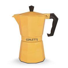 Gialetti Stovetop Espresso Pot - Yellow 6-cup Italian Coffee Maker's Unique Shape Promotes Uniform Heat Diffusion & Enhances Aroma - Distinctive Italian Styling - This Espresso Coffee Maker Has Heat-Resistant Handle & Knob - Great Addition To Your Kitchen Small Appliances Gialetti http://www.amazon.com/dp/B00UF8QIEE/ref=cm_sw_r_pi_dp_YX7lvb0QSP7Y4