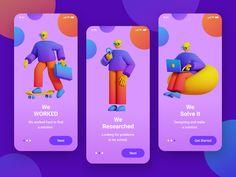We WORK3D by Nur Miftah App Ui Design, Mobile App Design, 3d Design, Web Design Projects, Ui Design Inspiration, Web Layout, Typography Logo, Motion Design, App Development