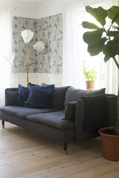 28 Ideas For Tree Wallpaper Living Room Grey Grey Living Room Sets, Black Sofa Living Room, Ikea Living Room, Living Room Images, Living Room Furniture, Ikea Sofa Bed Cover, Couch Covers, Söderhamn Sofa, Apartments