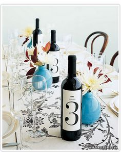 wine bottle table numbers - we did this for our wedding reception! I would love this with a picture on it.of the wedding couple! Wine Bottle Centerpieces, Wedding Centerpieces, Wedding Decorations, Centerpiece Ideas, Table Centerpieces, Table Decorations, Diy Wedding, Wedding Events, Wedding Ideas