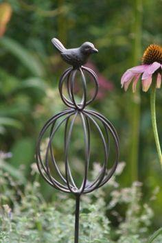 Gartenstecker-Pflanzstecker-Gartendeko-Metall-Antik-Stil-Guss-Kugel-mit-Vogel