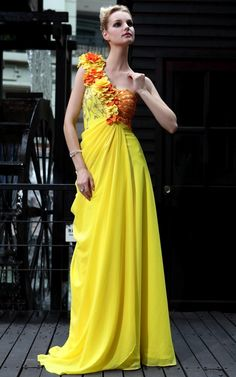 New Yellow Cocktail Prom Ball One Shoulder Beading Formal Long Evening Dress