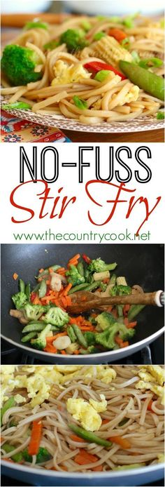 No-Fuss Stir Fry recipe from The Country Cook. The sauce is the boss for any stir fry and this one is perfect! It's a vegetarian meal but sliced & cooked steak, chicken or pork can be added. It gets a boost of yummy protein from healthy those Egglands Best eggs.