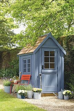 Small Wooden Shed from Posh Sheds. Garden Shed Ideas and inspiration. Garden and… Small Wooden Shed from Posh Sheds. Garden Shed Ideas and inspiration. Garden and potting sheds – plastic, metal and wooden – to inspire. Diy Storage Shed Plans, Wood Shed Plans, Diy Shed, Storage Sheds, Garden Shed Diy, Small Storage, Tool Storage, Small Garden Storage Ideas, Garden Storage Shed