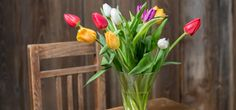 Coloful tulips in a vase on a wooden table | 5 Clever Tricks for Making Cut Flowers Last Longer
