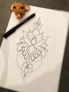 I like the bottom. Smal Tattoo, Lotusblume Tattoo, Lotus Tattoo, Cover Up Tattoos, Piercing Tattoo, Back Tattoo, Tattoo Drawings, New Tattoos, Body Art Tattoos