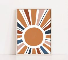 Abstract Sun Rays Printable Wall Art Nature Lovers will gravitate toward these earthy tones of Burnt Orange and blue. This neutral tones make a subtle statement and ideal for modern,contemporary rooms and kids room art as well. Small Canvas Art, Diy Canvas Art, Poster Digital, Digital Wall, Digital Prints, Sun Painting, Painting Abstract, Acrylic Paintings, Kids Abstract Art