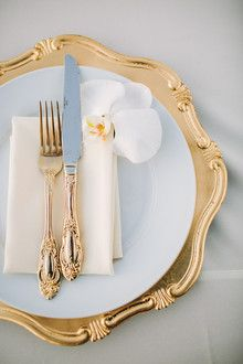 Old Hollywood glam wedding place setting                                                                                                                                                                                 More