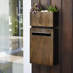 Javi Wall Mount Letterbox with Javi Wall Planter in Charcoal with dark stained Accoya Wood front panel