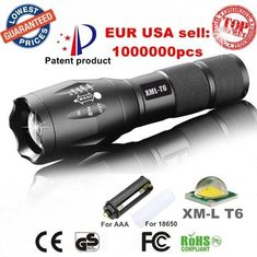 Aluminum Waterproof Zoomable CREE LED Flashlight Torch light for 18650 Rechargeable Battery