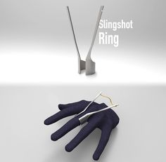 A slingshot ring that one can use it to shoot tiny objects, designed by Johnny