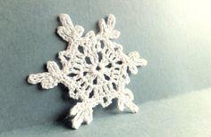 Crocheted snowflakes, handmade Christmas tree ornaments, holiday decorations, white applique, embellishments /set of 6/ via Etsy