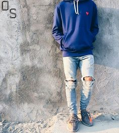 #OutfitSociety via @bestofstreetwear Presents @straight2feet a heart in the right place: Comme Des Garçons Hoodie Represent Clothing Denim Jeans and Adidas x Yeezy Boost 350 v2 Tomboy Outfits, Swag Outfits, Winter Outfits, Guy Outfits, Summer Outfits, Casual Outfits, Urban Fashion, Teen Fashion, Fashion Models