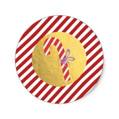 Candy Cane Christmas Holiday Red Stripes Gold Foil Classic Round Sticker - gold gifts golden diy custom