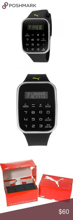 Puma Calculus Digital Chronograph Watch Calculus Digital Dial Black Plastic Unisex Calculator Watch Fixed black plastic bezel. Black digital dial displaying: hours, minutes and seconds hour markers. Touch screen calculator with basic math functions. Dial Type: digital. Luminescent liquid crystal display. Digital chronograph. Quartz movement. Scratch resistant mineral crystal. Solid case back. Case diameter: 39 mm. Case thickness: 11 mm.Water resistant at 50 meters / 165 feet. Functions…