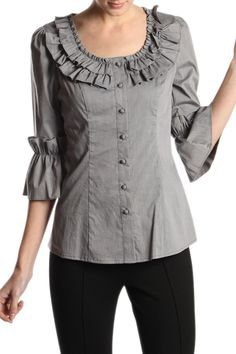 BUTTON UP TOP WITH BELL SLEEVES AND FRONT RUFFLES  60% COTTON ; 35% NYLON ; 5% SPANDEX  Product Code: ATA5012