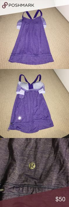 Lululemon workout top Lululemon workout top! This is one of my favorites it's just too small.. it comes with a built in bra and padding. It crosses on the back and is open on the sides. lululemon athletica Tops Tank Tops