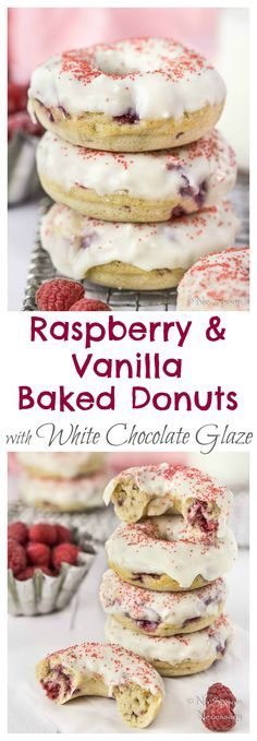 Raspberry & Vanilla Baked Donuts with White Chocolate Glaze. WELL now I need to … Raspberry & Vanilla Baked Donuts with White Chocolate Glaze. WELL now I need to buy a donut pan… Baked Donut Recipes, Baked Doughnuts, Baking Recipes, Donuts Donuts, Cake Donut Recipe Baked, Fancy Donuts, Baking Ideas, Kitchen Recipes, Delicious Donuts