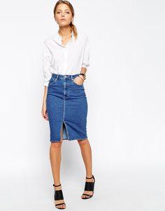 Denim Split Front Midi Pencil Skirt in Midwash Blue