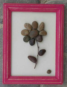 Arte de piedra / roca flor de arte en un marco de por CrawfordBunch