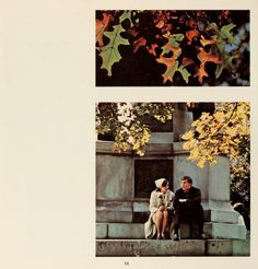 Athena yearbook, 1968. A young man and young woman sit at the base of the Soldiers Monument on College Green.