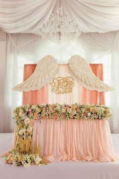 ideas baby shower decorations for girls backdrops table skirts Angel Baby Shower, Girl Shower, Baby Shower Themes, Baby Shower Decorations, Girl Baptism Decorations, Shower Ideas, Birthday Decorations, Wedding Decorations, Theme Bapteme