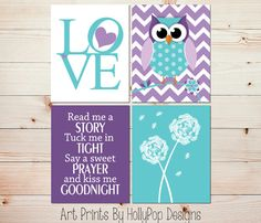 Toddler girl bedroom art LOVE print Purple owl by HollyPopDesigns