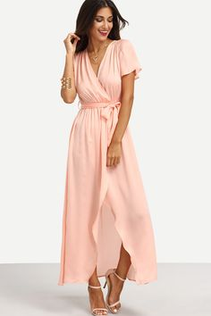 """A wrap dress with a universally flattering fit is made all the more appealing in a beautiful blush hue, with sweetly fluttering sleeves and a breezy high/low hem. - 34"""" front length; 55"""" back length ("""